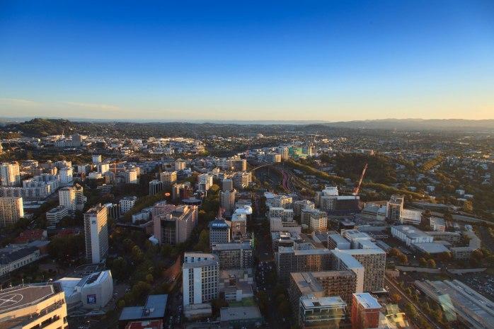 Panorama miasta, po lewej wzgórze Mt. Eden