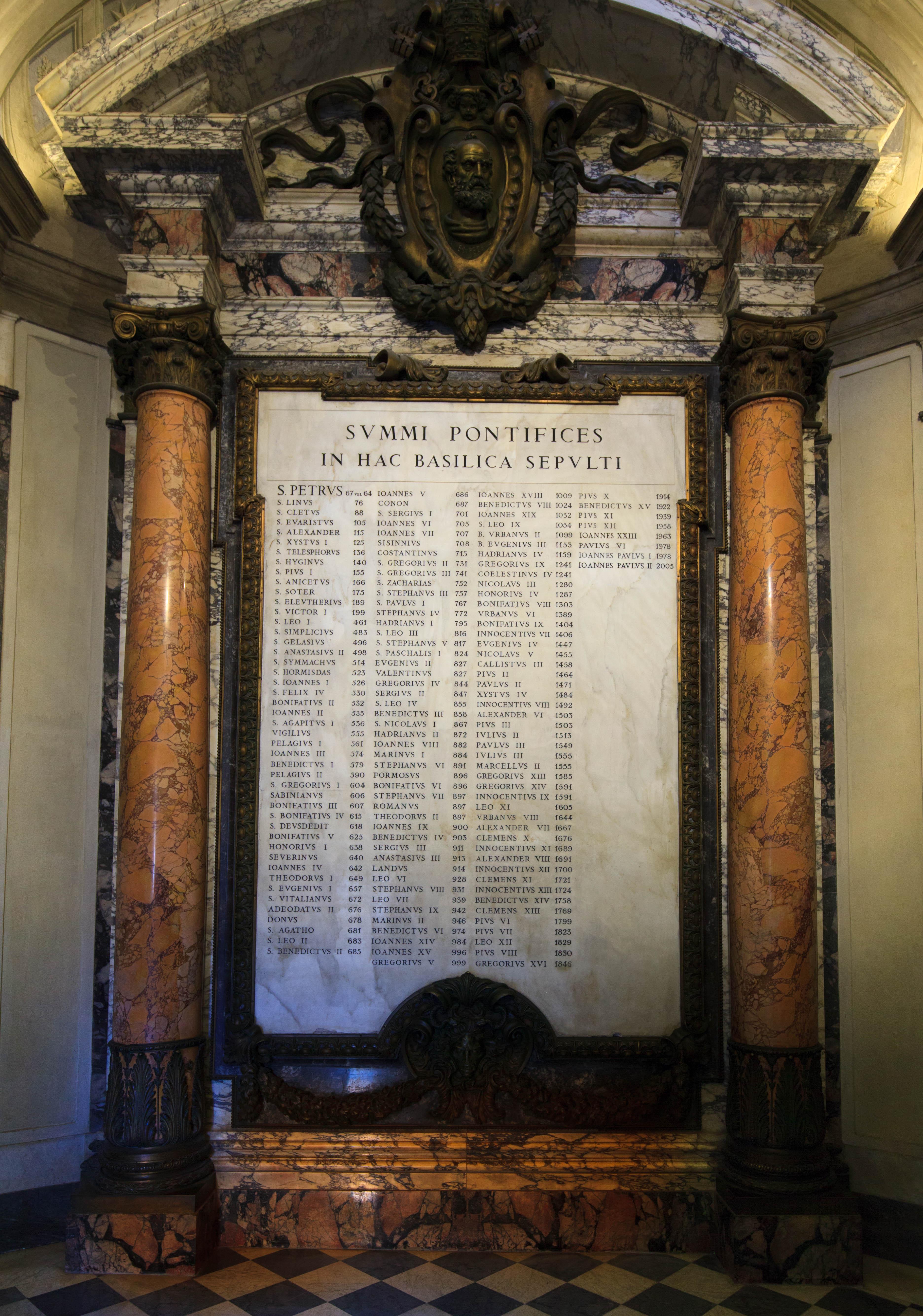Tablica upamiętniająca 148 papieży